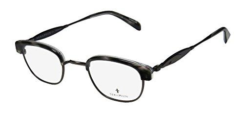 Seraphin Griggs Mens/Womens Designer Full-rim Titanium Eyeglasses/Eyewear (45-24-145, Horn / Gray / - Full Rim