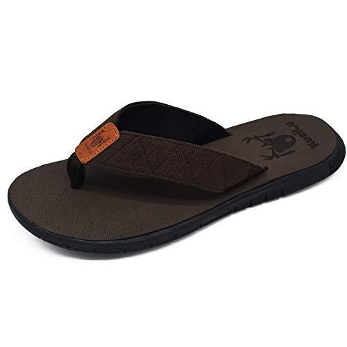 Mens Flip Flops Slip on Flat Thong Sandals Non Slip Rubber Sole Lightweight Summer Beach - Sole Rubber Sandals