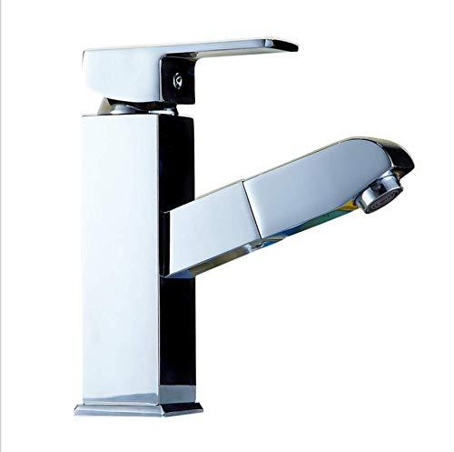 Edelstahl Einhand Mischer Einhebel Draw-Typ Becken Wasserhahn Bad Wasserhahn Sprinkler Schalten Einzigen Auslasshahn