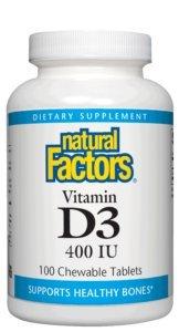Cheap Natural Factors – Vitamin D3 400 IU, Supports Healthy Bones, 100 Chewable Tablets