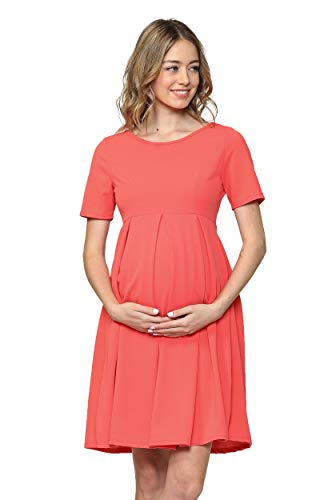 (Hello MIZ Women's Maternity Midi Dress with Front & Back Pleat (Coral Solid, S))