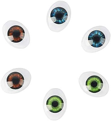 Vollence 3 Paar 3 Farben Oval Flache Hohle Plastikaugen Puppe Puppe B/är Craft Eyes Aug/äpfel Maske Making DIY Supplies f/ür Porzellan oder Reborn Puppen Stofftier Spielzeug Troll Scary Eyes
