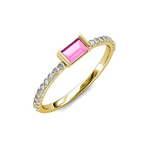 (TriJewels Baguette Pink Sapphire and Round Diamond Womens Promise Ring 0.50 ctw 14K Yellow Gold.size 5.75)