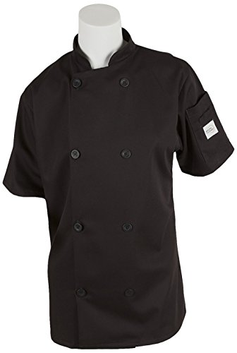 Mercer Culinary M60023BK1X Millennia Women's Short Sleeve Cook Jacket with Traditional Buttons, X-Large, Black (Ladies Traditional Jacket Chefs)
