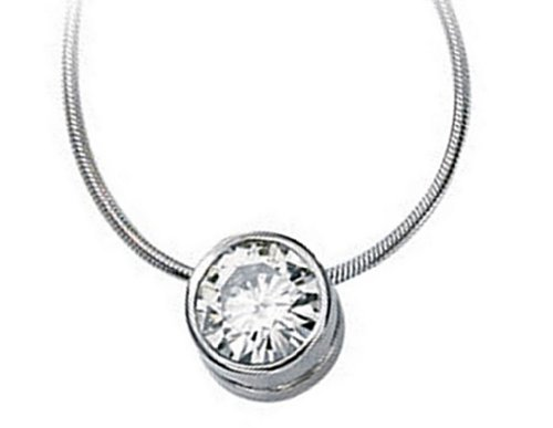 Charles & Colvard 1.5 Ct Moissanite Slide Pendant 14k White Gold Necklace, 18'' by The Men's Jewelry Store (for HER)