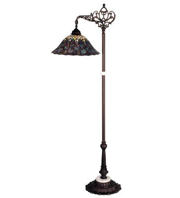 - Meyda Tiffany 65840 Arm Floor Lamp, Mahogany Bronze Finish with Undulating Stained