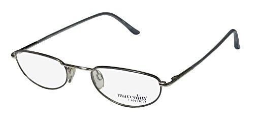 Marcolin 7215 Mens/Womens Ophthalmic Fancy Designer Full-rim Flexible Hinges Eyeglasses/Eye Glasses (49-21-140, Silver / (Wiz Nose)