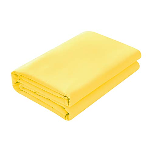 Basic Choice Flat Sheet, Breathable, Extra Soft Microfiber 2000 Bedding Top Sheet - Wrinkle, Fade, Stain Resistant - Hypoallergenic - (Yellow, - Queen Flat Sheet Yellow