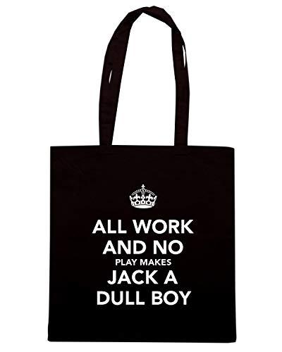 Borsa Shopper Nera TKC4071 KEEP CALM AND ALL WORK AND NO PLAY MAKES JACK A DULL BOY