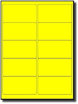 200 LabelOutfitters Fluorescent Neon Yellow Laser Printer ONLY Labels, 4 x 2 inches, 20 Sheets