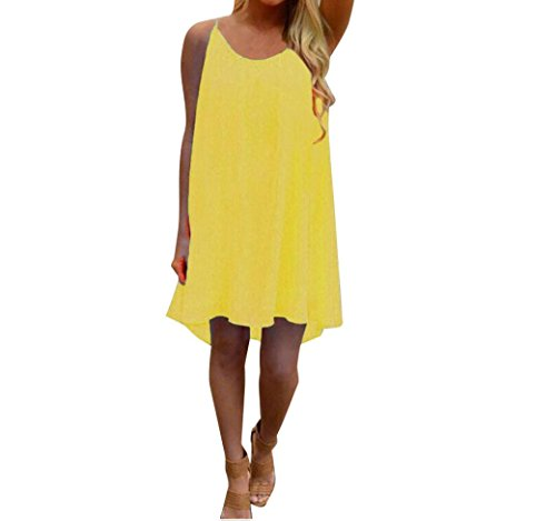 JYC Verano Falda Larga,Vestido De La Camiseta Encaje,Vestido Elegante Casual,Vestido Fiesta Mujer Largo Boda, Moda Mujer Espaguetis Correa Espalda Hueco Fuera Gasa Playa Corto Vestir Amarillo