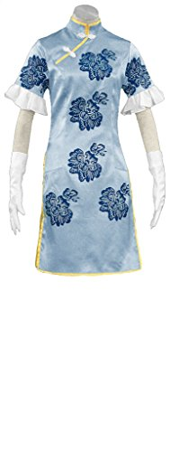 Choun Shiryu Costume (Mtxc Women's Strength of a Thousand Cosplay Choun Shiryu Cheongsam 1st Size XX-Large Blue)