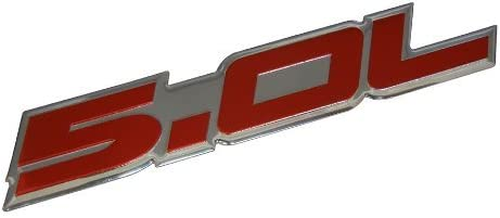 G/én/érique 5.0L Emblem in Silver on Black Highly Polished Aluminum Silver Chrome Engine Swap Badge for Ford Mustang GT F-150 Boss 302 Coyote Cobra GT500 V8 Crown Vic Victoria