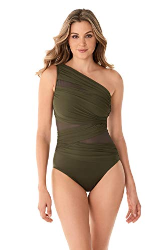 Miraclesuit Women's JENA Asymmetrical One Piece Swimsuit Olivetta Green 10