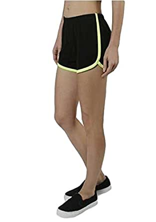 Neon Lined Color Contrast Athletic Workout Short Shorts Active Wear Summer Gym R (Small, Black w/ Neon Yellow Accents)