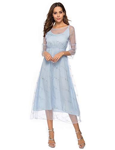 (Itemnew Women's Sequined Two Piece Boat Neck Flare Sleeve Tulle Chiffon Cocktail Long Dress (X-Large, Light Blue))