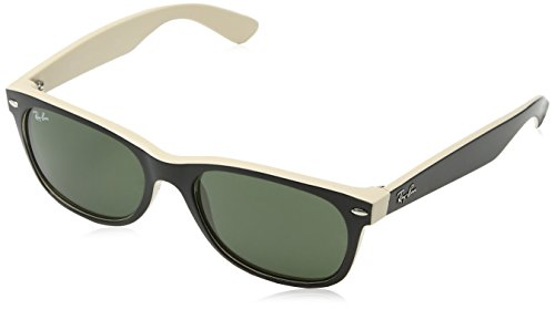 Ray-Ban NEW WAYFARER - TOP BLACK ON BEIGE Frame CRYSTAL GREEN Lenses 55mm - Ban Ray Wayfarer Round Sunglasses