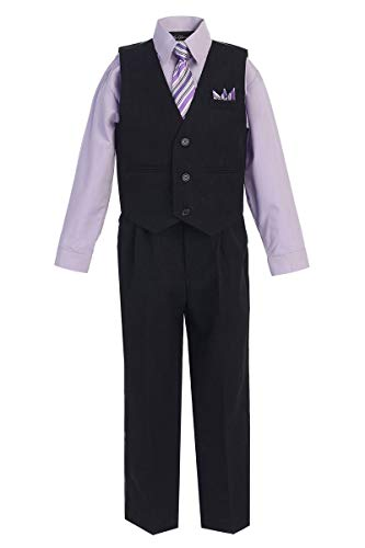 iGirldress Big Boys' Special Occasion Pinstripe Vest Set Black/Lilac 10 (Ties Pinstripe Suits)