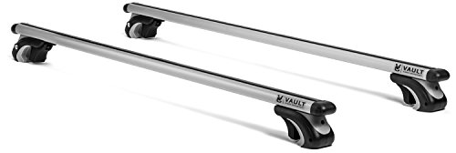 "54"" Universal Locking Roof Rack Crossbars by Vault - Carry Your Canoe, Kayak, & Cargo Safely With Our Aerodynamic Design - Mount Onto the Rooftop of Your Car or SUV with Existing Side Rail Gap"