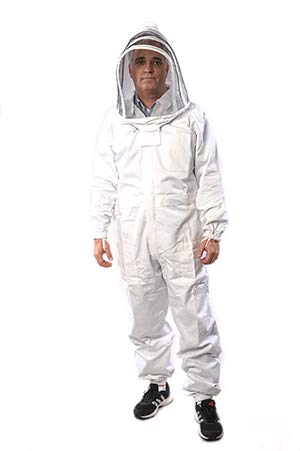Wise Man Outfit (Beekeeping Suit by Forest Beekeeping | Suitable for Beginner and Commercial Beekeepers | White Cotton Coverall with Hood | Brass Zippers | Thumb Straps | 12 inch Leg Zippers)