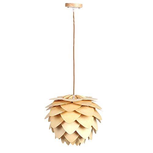 Riuty LED Chandeliers,DIY Creative Lamp LED Pendant Lamp Modern Pinecone Wood Wooden Pendant Lights 2 Light Pinecone Pendant