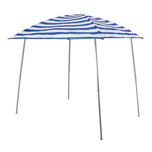 PHI VILLA Pop-up Slant Leg Canopy Tent, Lightweight for Camping, Beach and Sports - 8' x 8', Blue and White