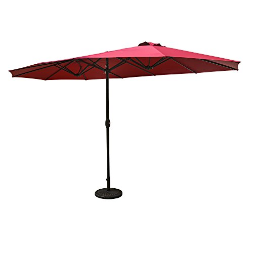 Aok Garden 15 ft Market Outdoor Umbrella Double-Sided Aluminum Table Patio Umbrella with Crank,Burgundy