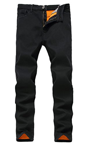 Men's Black Fleece Lined Skinny Winter Slim Fit Thicken Warm Stretch Jeans