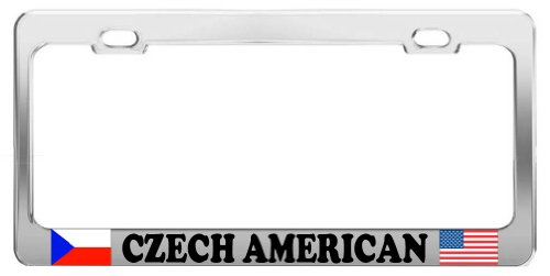product-express-czech-american-proud-chrome-steel-tag-holder-license-plate-frame