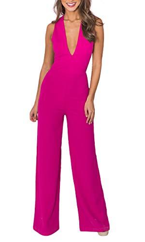 Carprinass Female Stylish Flattering Jumpsuits with Wide Leg Palazzo Rose XL