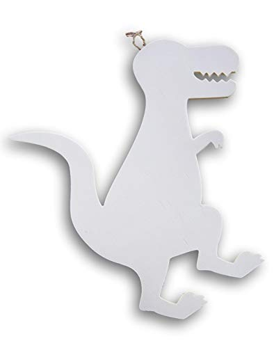 Craft Supply T-Rex Dinosaur Shaped Wood Cutout Plaque Sign - 11.75 Inches x 11.5 Inches ()