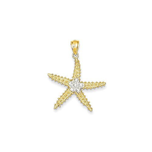 Diamond Cut Starfish Pendant (Roy Rose Jewelry 14K Yellow Gold & Rhodium Diamond-cut StarFish Pendant)