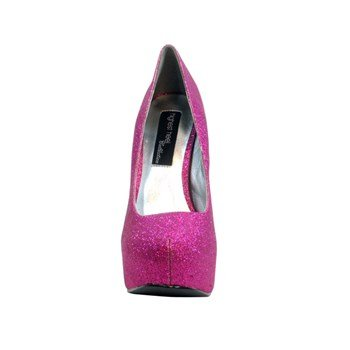 The Highest Heel Women's Kissable Pump,Fuschia Glitter Polyurethane,7 M US