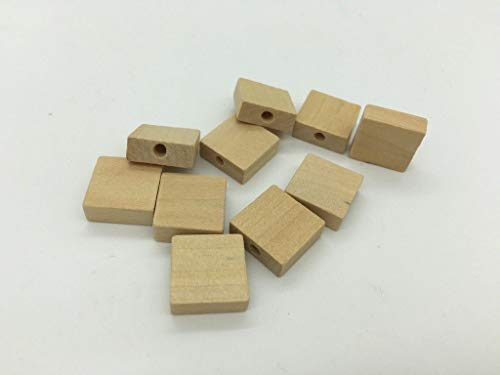- 30pcs Square Wooden Beads Unfinished Natural Rectangle Wood Painting Connector