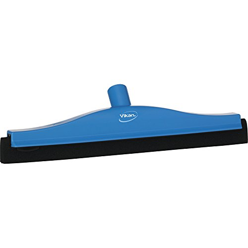 Vikan 77523 Foam Rubber Polypropylene Frame Fixed Head Squeegee, 16'', Blue by Vikan