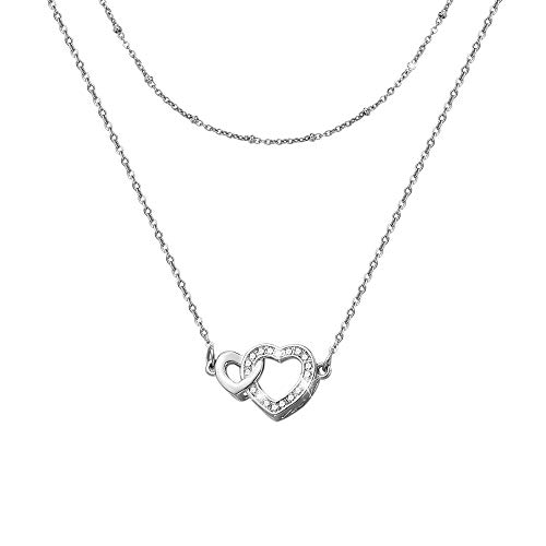 Dec.bells Dainty Necklace Love Heart Pendant 2 PCS Layered Necklace Set Women Jewelry Gift for Girlfriend Mother Sister Friend(Heart-Silver) -