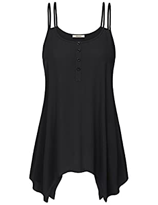 Jazzco Women's Handkerchief Sleeveless Tunic Tank Top