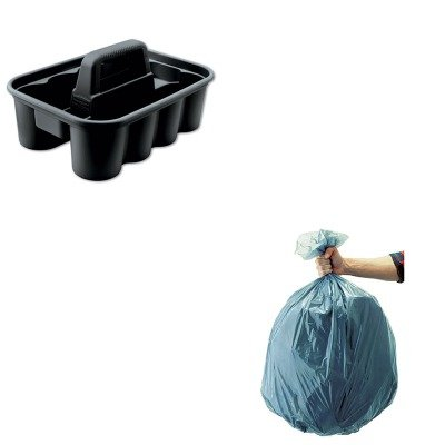 Deluxe Caddy Kit (KITRCP315488BLARCP501188GRA - Value Kit - Deluxe Black Carry Caddy (RCP315488BLA) and Rubbermaid 5011-88 Tuffmade Polyliner Low-Density Can Liners, 55 Gallons (RCP501188GRA))