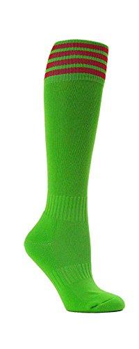 やむを得ない行方不明放散するグリーンストライプYouth Football Soccerスポーツ膝高ソックス1ペア
