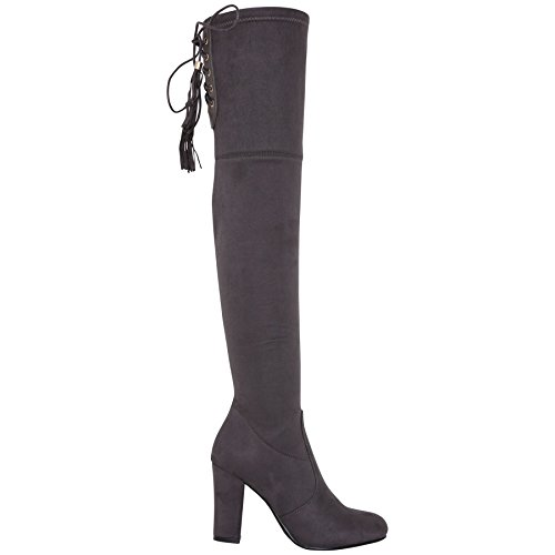 Womens Over Knee High Boots Ladies Low Block Heel Riding Stretch Winter Shoes Grey LGWY7