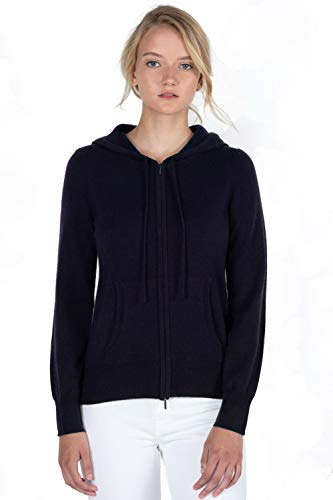 JENNIE LIU Women's 100% Pure Cashmere Long Sleeve Zip Hoodie Cardigan Sweater (M, Navy)