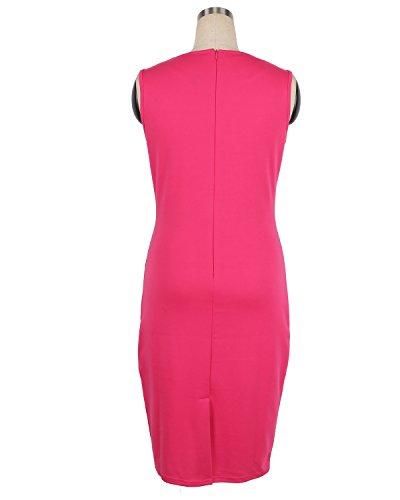 Babyonlinedress Vestido cuello redondo sin mangas estilo lápiz con un cinturón fino rosado
