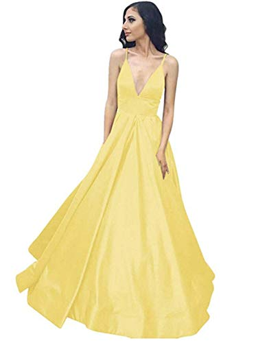 (Yangprom Long Spaghetti Straps Ball Gown Satin Prom Dresses with Pockets 4, Yellow)