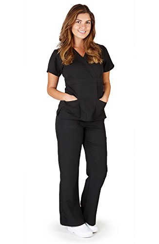 Ultra Soft Brand Scrubs - Premium Womens Junior Fit 3 Pocket Mock Wrap Scrub Set, Black 37906-Large