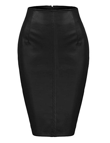 Zeagoo Women Sexy High Waist Faux Leather Split Office Club Night Out Pencil Skirt