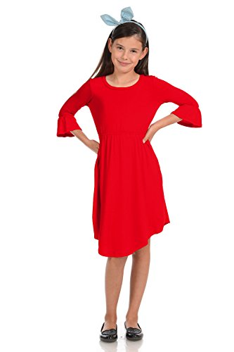 Honey Vanilla Girls' Fit and Flare Midi Dress with Bell Sleeve Small 5-6 Years -