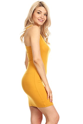 in Mini Bodycon Casual Racer Hdr00021 Sexy Made Mustard USA Dress Back Women's W81qBRcTq
