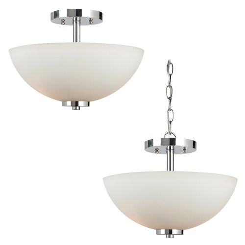 Sea Gull Lighting 77160BLE-05 Convertible Semi-Flush/Pendant with Etched White Glass Shades, Chrome Finish