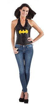 Dc Comics Secret Wishes Batgirl Corset Costumes (Secret Wishes DC Comics Justice League Superhero Style Adult Corset Top with Logo Leather-Look Batgirl, Black, Small)