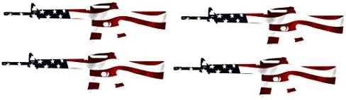 4 Pack AR-15 Rifle Gun Decal Sticker Silhouette American Flag USA Patriotic Decal Auto Bumper Sticker Vinyl Car Truck RV SUV Boat Support 2nd Amendment Military